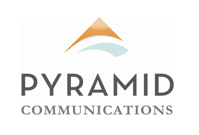 Pyramid Communications Logo orange triangle blue swoosh